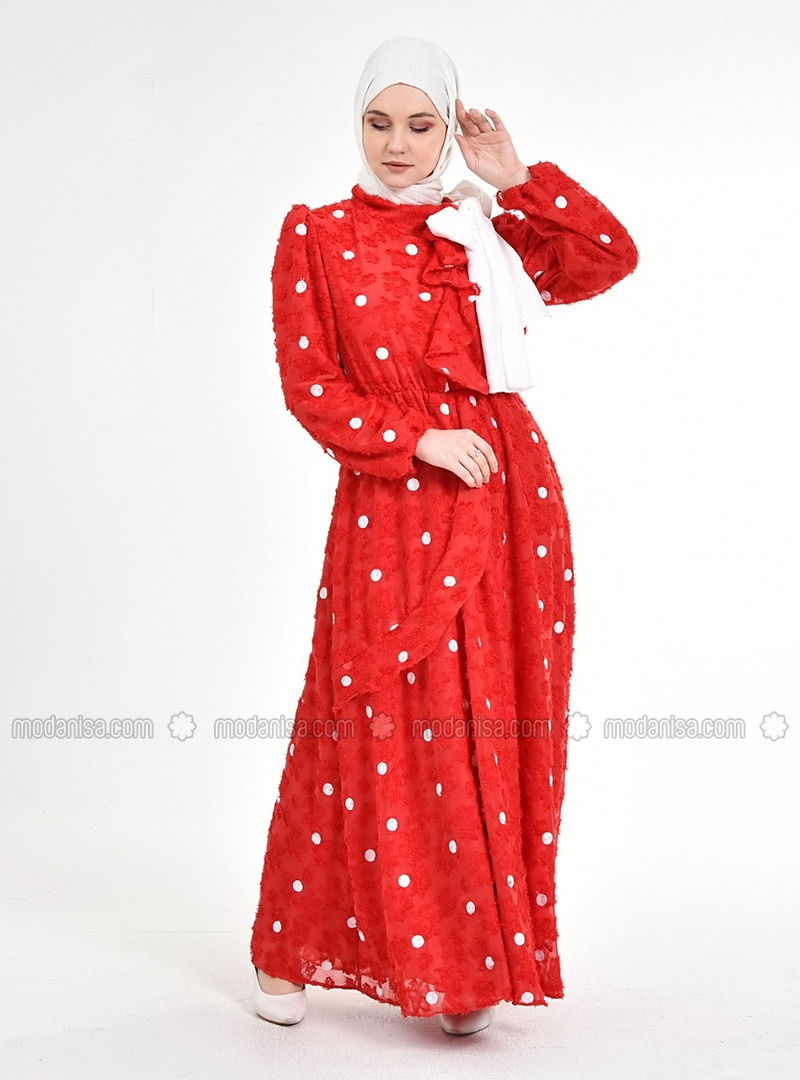 White - Red - Polka Dot - Fully Lined - Chiffon - Modest Dress