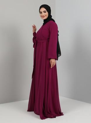 Fuchsia - Fully Lined - V neck Collar - Modest Evening Dress