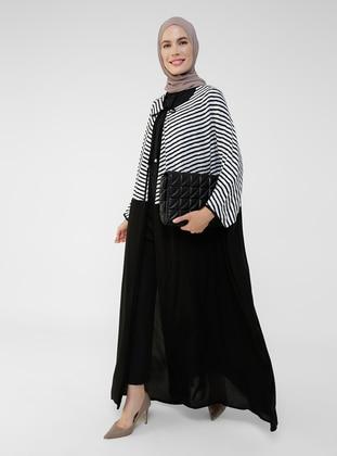 Black - Stripe - Unlined - Crew neck - Abaya