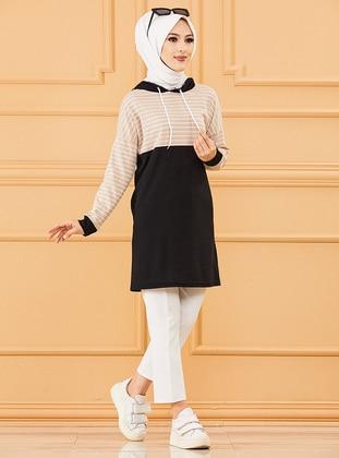 Mink - Stripe - Cotton - Viscose - Tunic