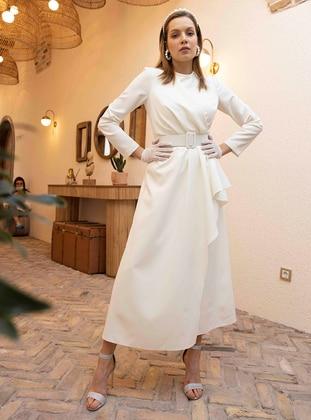 Ecru - Unlined - Crew neck - Modest Evening Dress
