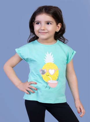 Printed - Crew neck - Unlined - Sea-green - Girls` T-Shirt