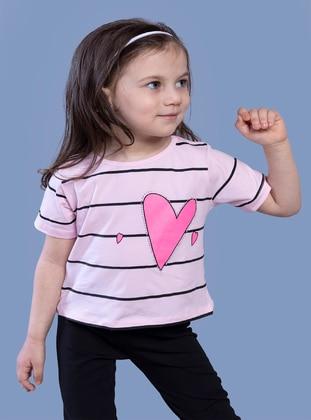 Printed - Crew neck - Unlined - Powder Pink - Girls` T-Shirt