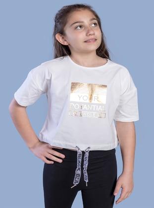 Printed - Crew neck - Unlined - Ecru - Girls` T-Shirt