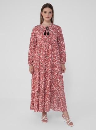 Dusty Rose - Floral - Unlined - Crew neck - Plus Size Dress