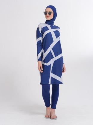 Indigo - Geometric - Full Coverage Swimsuit Burkini