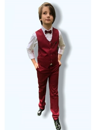 Button Collar - Fully Lined - Maroon - Boys` Suit