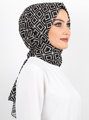 White - Black - Printed - Cotton - - Shawl