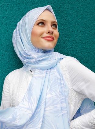 Blue - Printed - - Shawl
