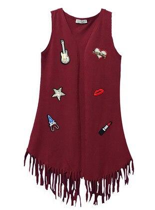 Multi - V neck Collar - Unlined - Maroon - Girls` Vest - LITTLE STAR