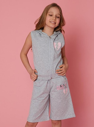 Multi - Unlined - Gray - Cotton - Girls` Shorts