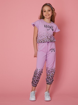 Multi - Crew neck - Unlined - Lilac - Girls` Tracksuit - LITTLE STAR