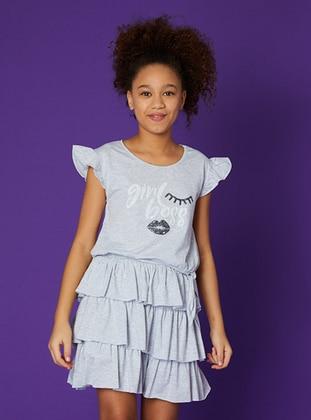 Multi - Crew neck - Unlined - Gray - Girls` Skirt