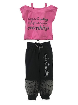Black - Cotton - Girls` Shorts - LITTLE STAR