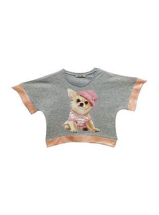 Multi - Crew neck - Gray - Girls` T-Shirt