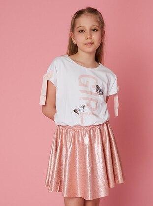 Multi - Crew neck - Powder - Cotton - Girls` Skirt - LITTLE STAR
