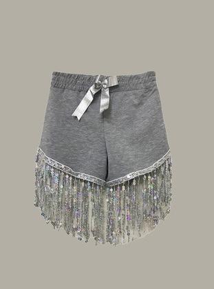 Gray - Cotton - Girls` Shorts - LITTLE STAR