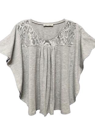 Crew neck - Gray - Girls` T-Shirt - LITTLE STAR