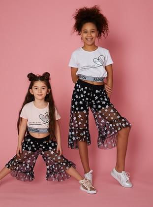 Multi - Black - Cotton - Girls` Pants