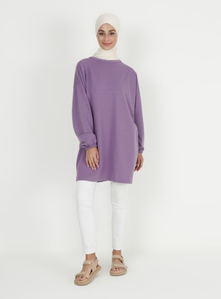 Crew neck - Lilac - Cotton - Sweat-shirt