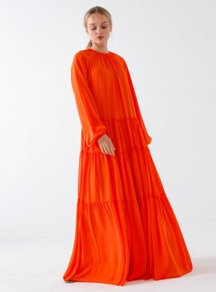 Orange - Crew neck - Fully Lined - Modest Dress