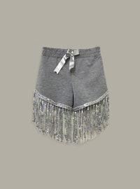 Gray - Cotton - Girls` Shorts