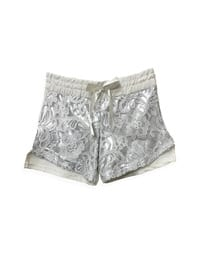 Floral - Ecru - Cotton - Girls` Shorts