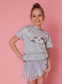 Multi - Gray - Cotton - Girls` Shorts