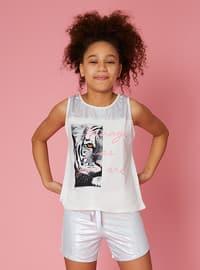 Multi - Crew neck - Cream - Cotton - Girls` Shorts