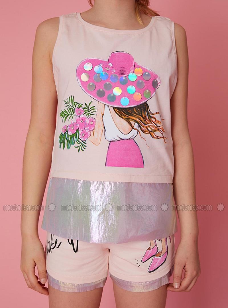 Multi - Powder - Cotton - Girls` Shorts