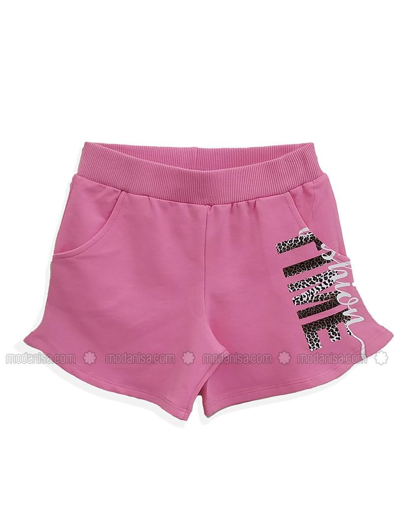 Fuchsia - Cotton - Girls` Shorts