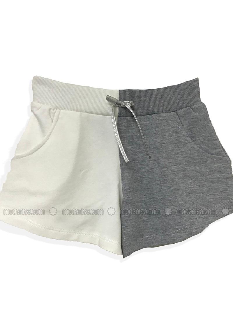 Cream - Cotton - Girls` Shorts
