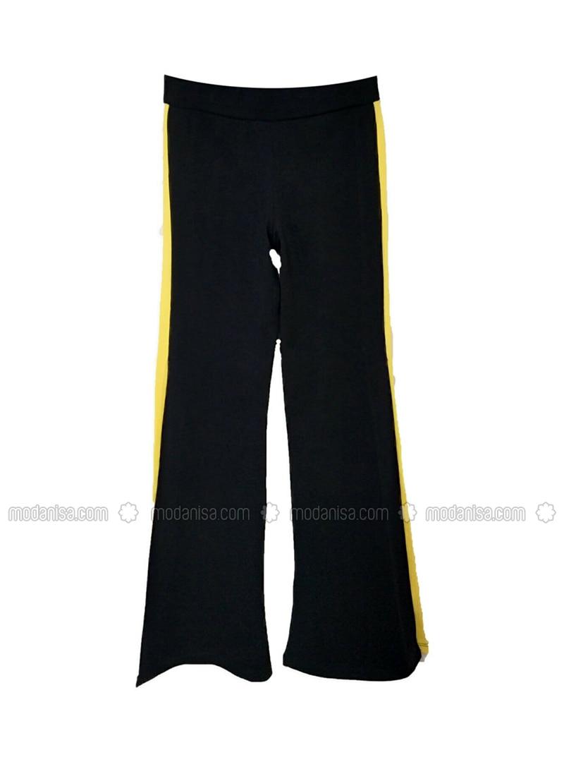 Unlined - Black - Cotton - Girls` Pants