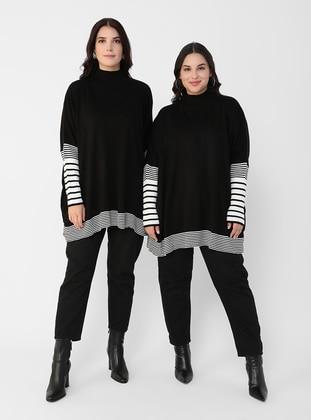 Ecru - Black - Stripe - Polo neck - Plus Size Knit Dresses