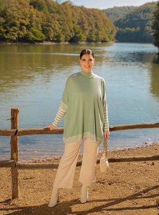 Ecru - Green - Stripe - Polo neck - Plus Size Knit Dresses