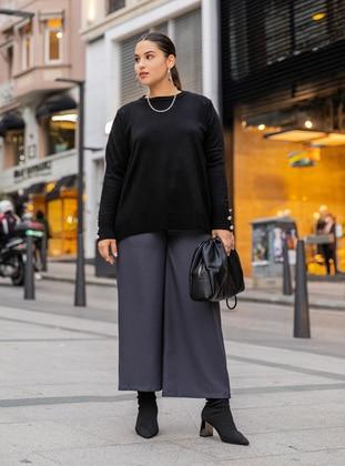 Black - Crew neck - Plus Size Knit Tunics