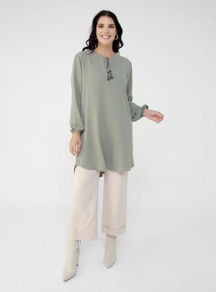 Sea-green - Crew neck - Plus Size Tunic