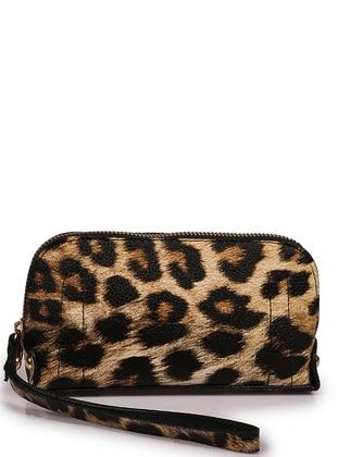 Brown - Leopard - Clutch - Wallet