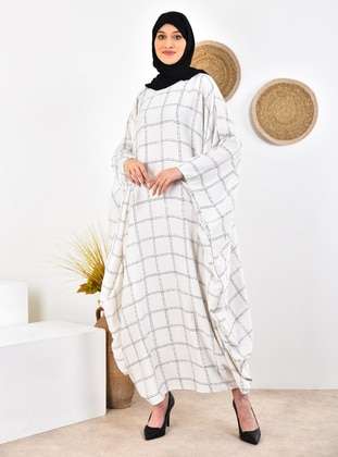 Ecru - Checkered - Unlined - Crew neck - - Abaya