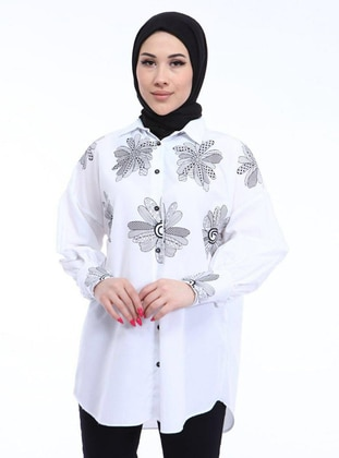 White - Floral - Point Collar - Cotton - Tunic