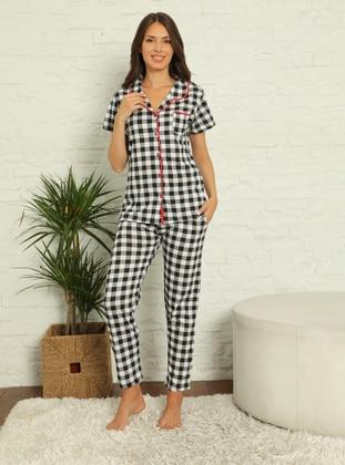 White - Black - Shawl Collar - Checkered - Pyjama Set