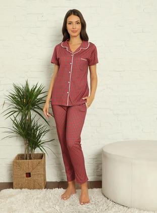 Red - Navy Blue - Shawl Collar - Checkered - Pyjama Set