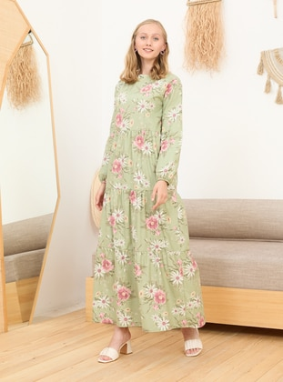 Green - Floral - Polo neck - Unlined - Cotton - Modest Dress