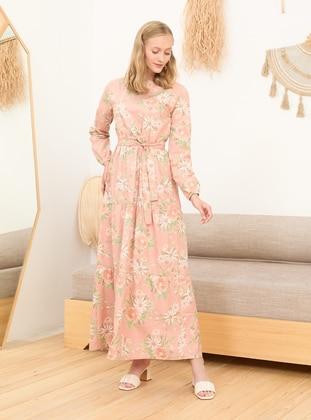 Light Pink - Floral - Polo neck - Unlined - Cotton - Modest Dress