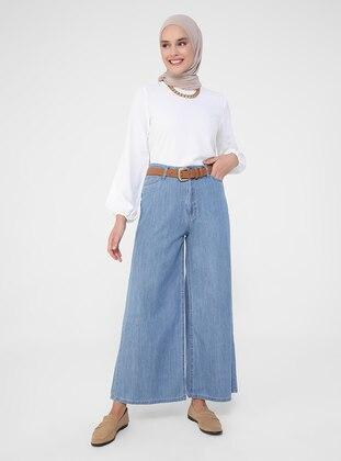 Blue - Denim - Cotton - Pants