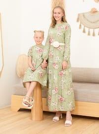 Floral - Round Collar - Green - Cotton - Girls` Dress