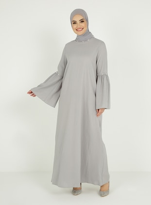Gray - Crew neck - Unlined - Modest Dress