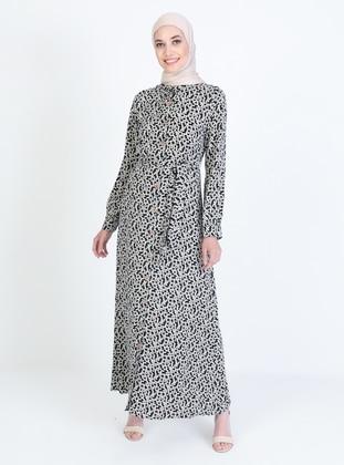 Cream - Black - Multi - Crew neck - Unlined - Modest Dress