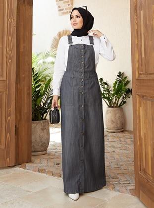 Gray - Denim - Skirt Overalls