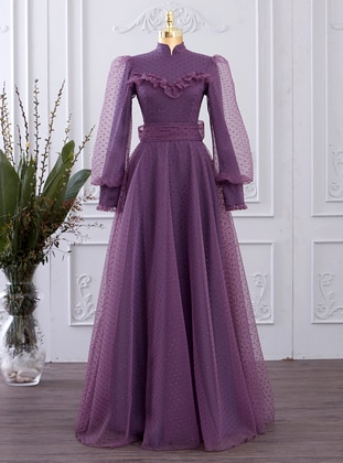 Purple - Polka Dot - Fully Lined - Crew neck - Modest Evening Dress